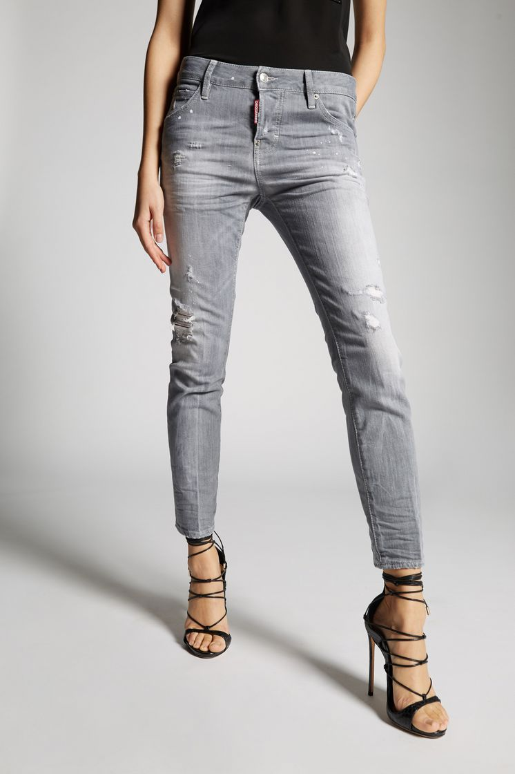 Dsquared2 Grey Broken Cool Girl Jeans - 5 Pockets ... 603bbfaca3b