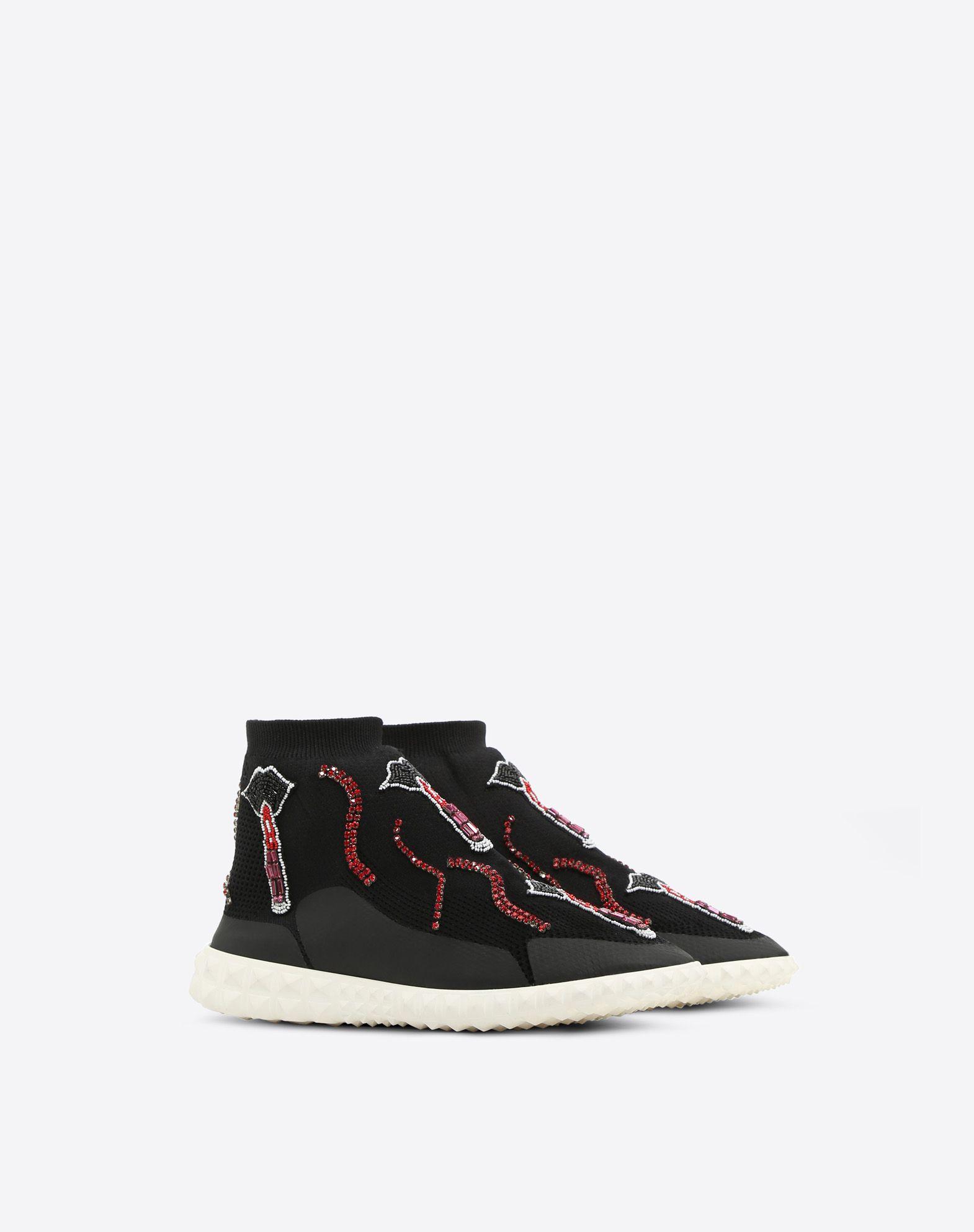 VALENTINO GARAVANI Embroidered Sneaker HIGH-TOP SNEAKER D r