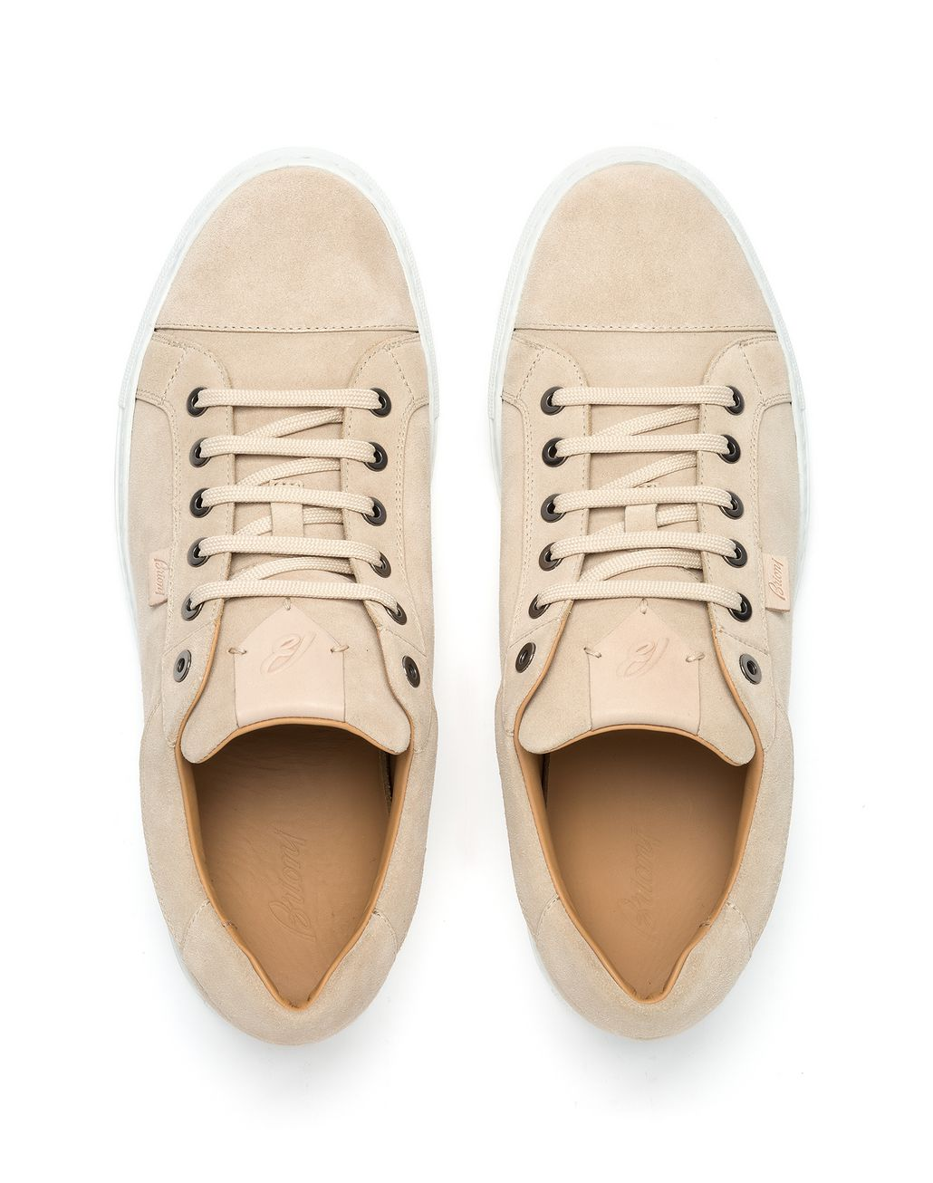 BRIONI Ivory Calfskin Suede Sneaker Sneakers [*** pickupInStoreShippingNotGuaranteed_info ***] r