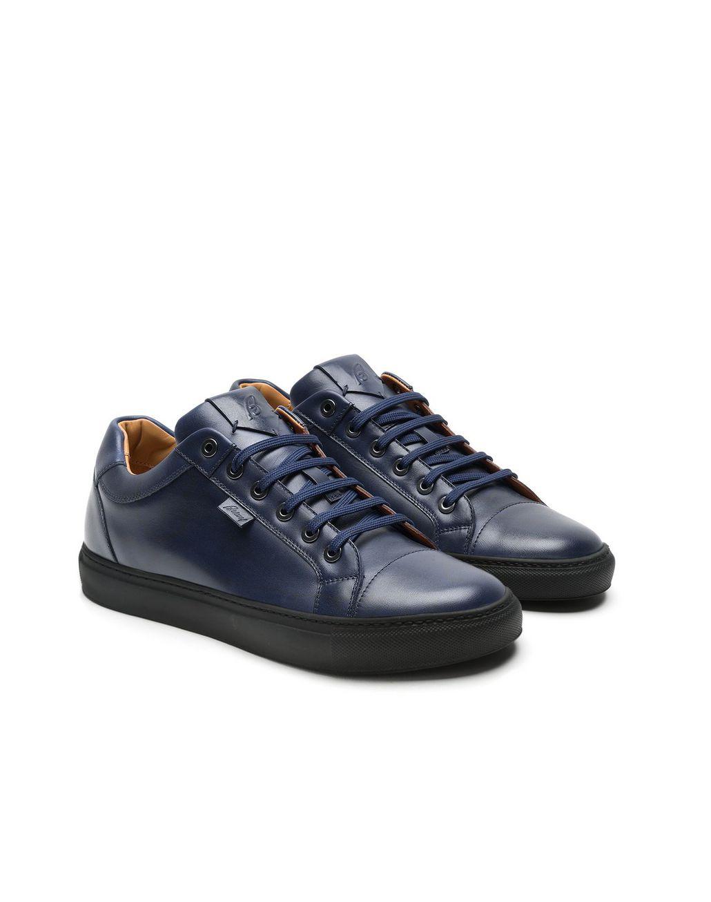 BRIONI Тёмно-синие кроссовки из телячьей кожи Кеды Для Мужчин d