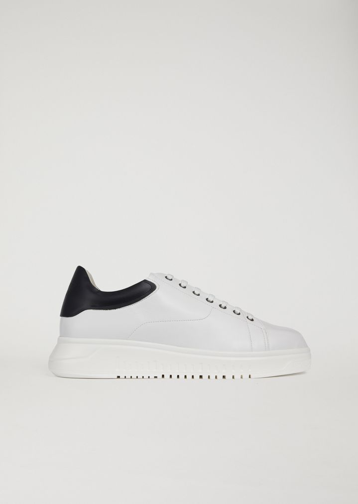 45d5d8a414497 Two-tone leather trainers | Man | Emporio Armani