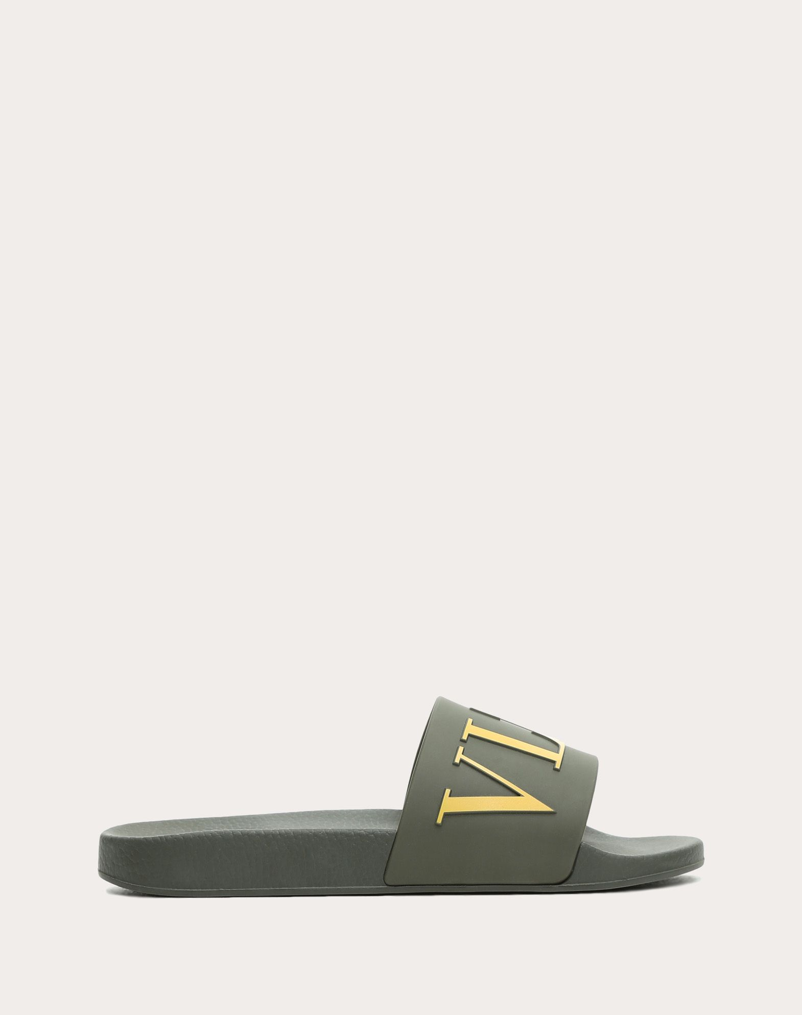Green Rubber Sandals With Logo, Military Green
