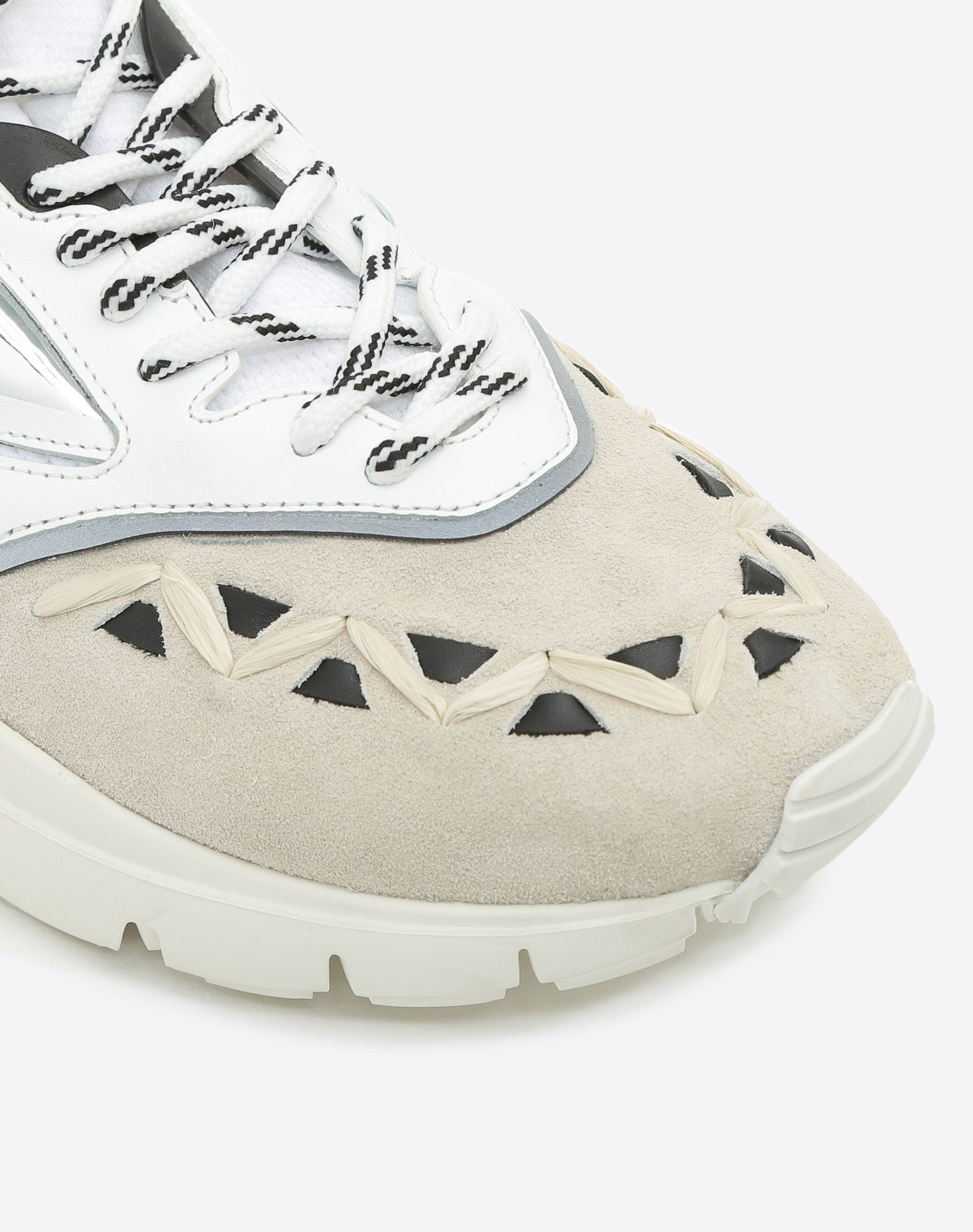 VALENTINO Lightweight sweater Suede effect Logo Round toeline Fabric inner Laces Rubber cleated sole Leather applications  11417643pq