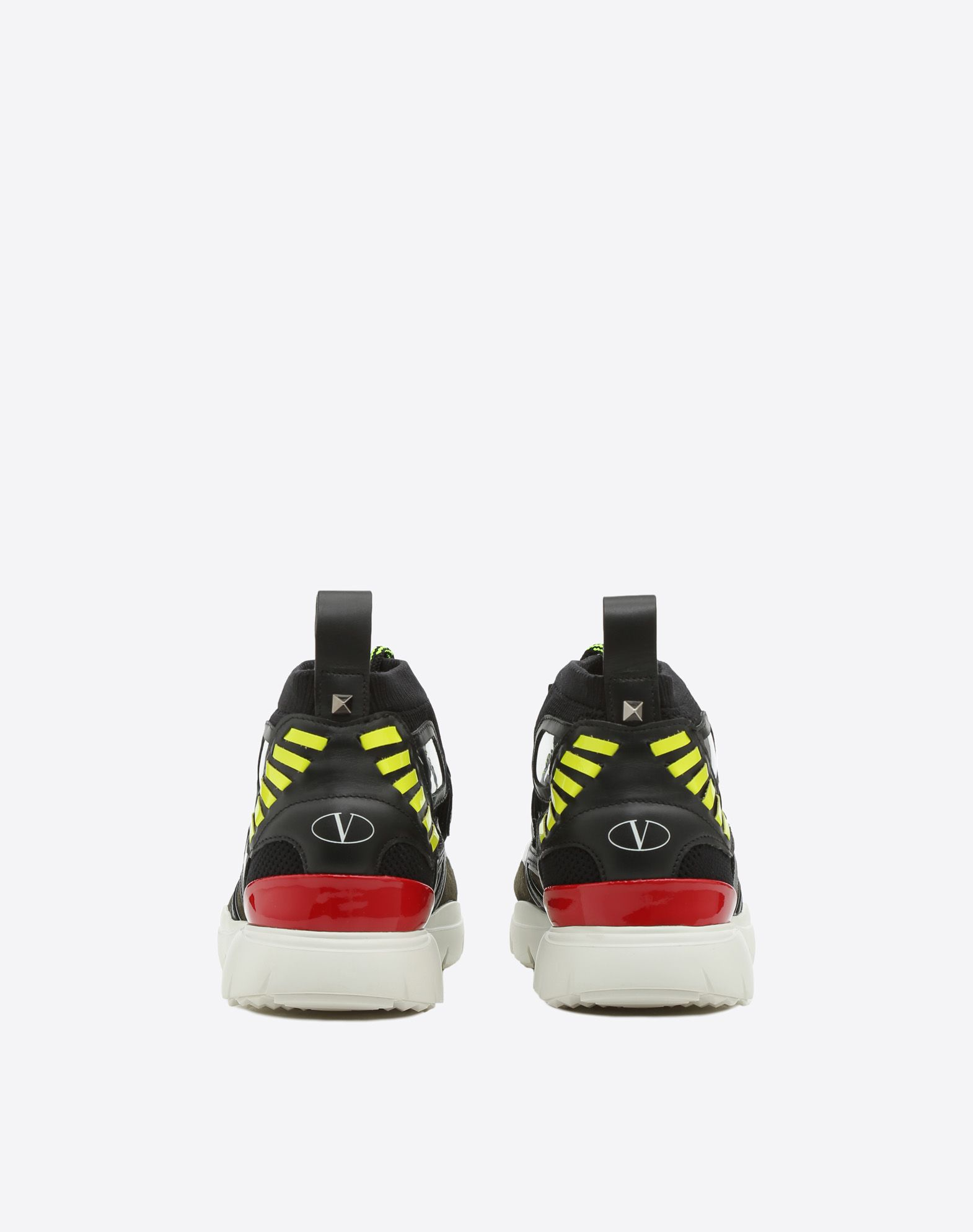 VALENTINO Lightweight sweater Suede effect Logo Round toeline Fabric inner Laces Rubber cleated sole Leather applications  11417645mj