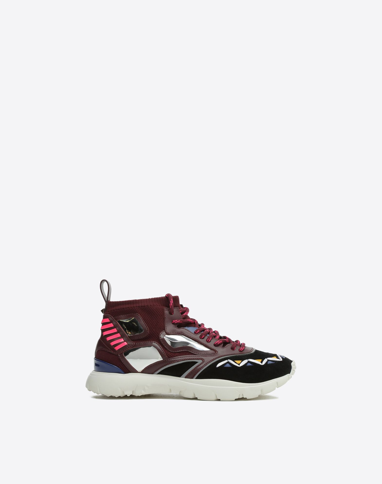VALENTINO Lightweight sweater Suede effect Logo Round toeline Fabric inner Laces Rubber cleated sole Leather applications  11417646sb