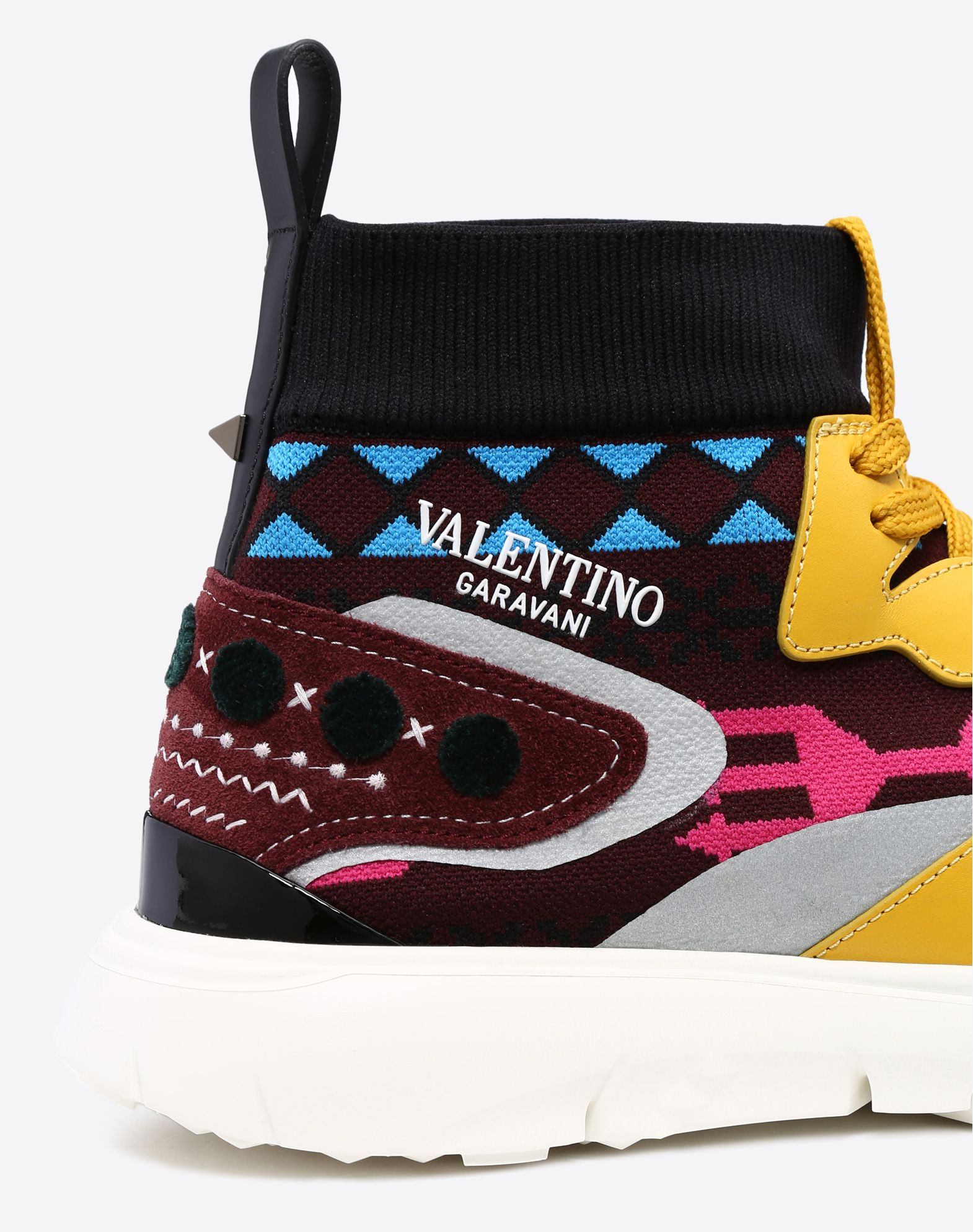 VALENTINO Techno fabric Lightweight knitted Suede effect Print Logo Round toeline Fabric inner Laces Rubber cleated sole Leather applications  11417654id
