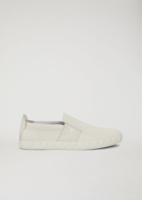 Slip-on shoes in leather with logo