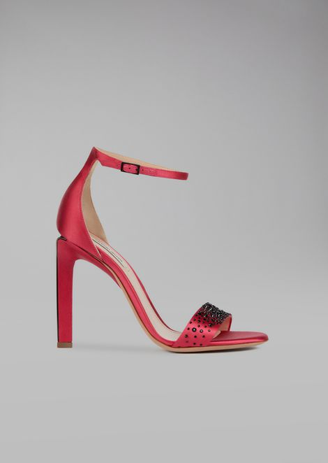 Sandali con tacco in raso
