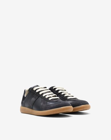 "SHOES Calfskin and suede ""Replica"" sneaker Black"