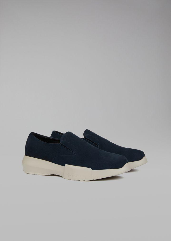 GIORGIO ARMANI Suede slip-on Sneakers Man r
