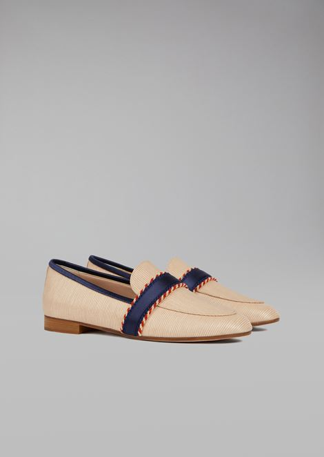 Loafers in straw with contrasting tape