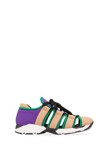 Marni Sneaker in techno fabric beige purple green Woman