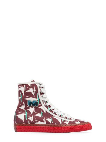 Marni High-top sneaker in red canvas with Sail print Woman