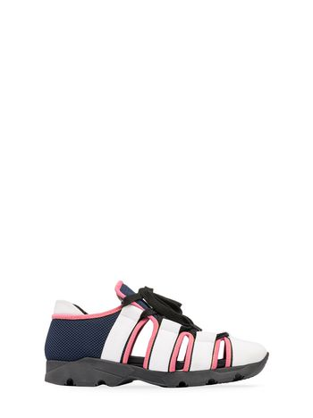 Marni Sneaker in white, blue and pink technical fabric Woman