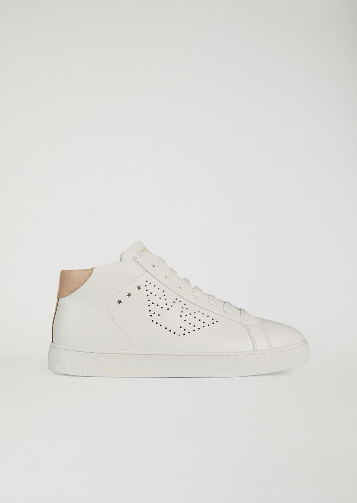 e98de61b99 High-top sneakers with perforated logo | Woman | Emporio Armani