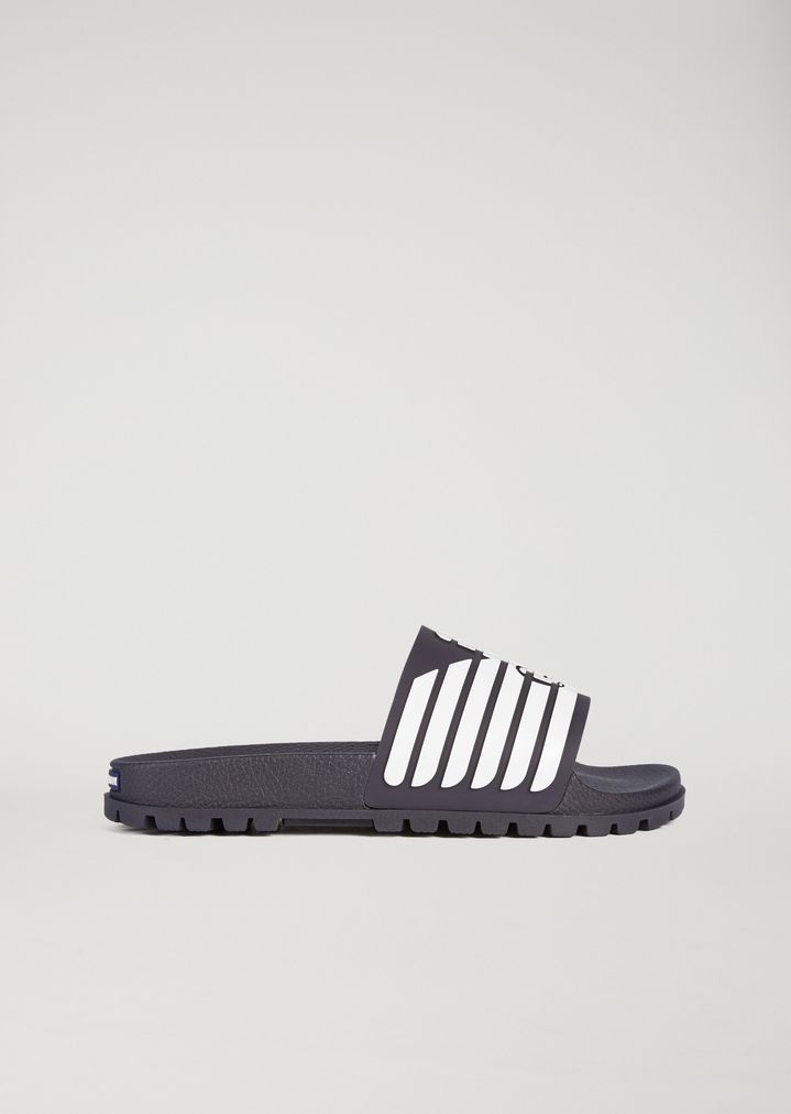 EMPORIO ARMANI Rubber sliders with logo detail Slides Man f ...