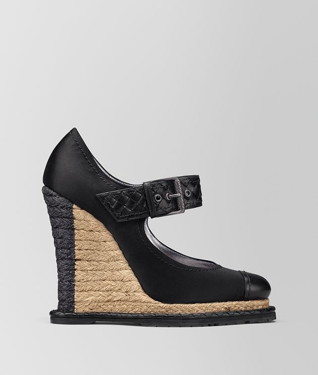 BOTTEGA VENETA NERO SATIN ESPADRILLE WEDGE Sandals Woman fp