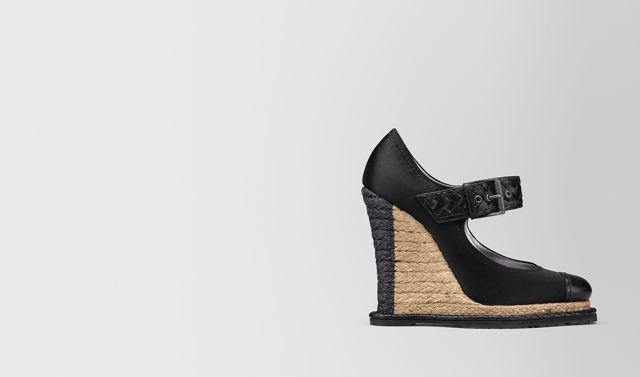 nero satin espadrille wedge landing