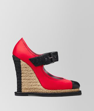CHINA RED SATIN ESPADRILLE WEDGE