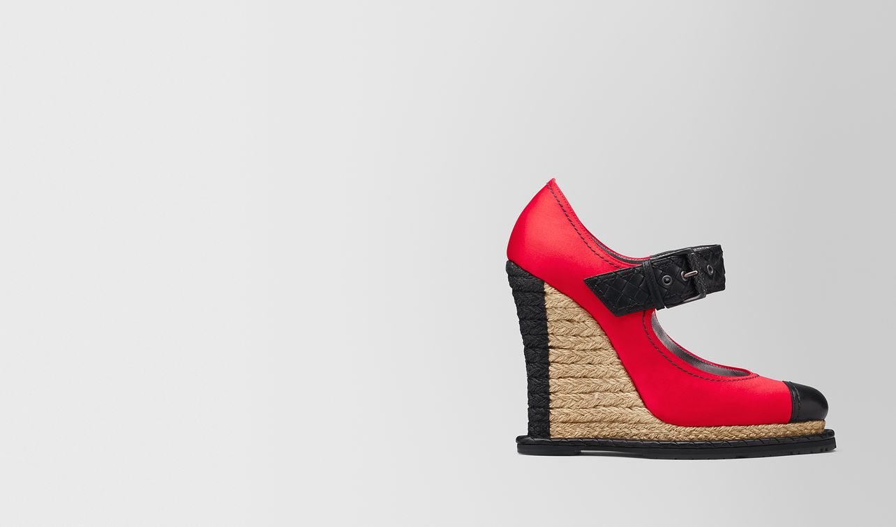 china red satin espadrille wedge landing