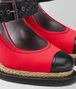 china red satin espadrille wedge Front Detail Portrait