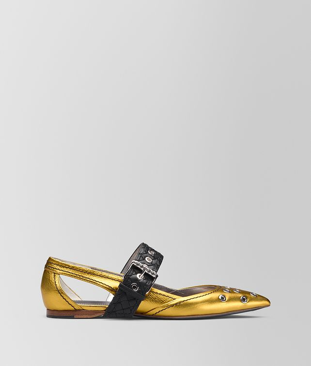 BOTTEGA VENETA ANTIQUE GOLD CALF MARY JANE BALLERINA Flat [*** pickupInStoreShipping_info ***] fp