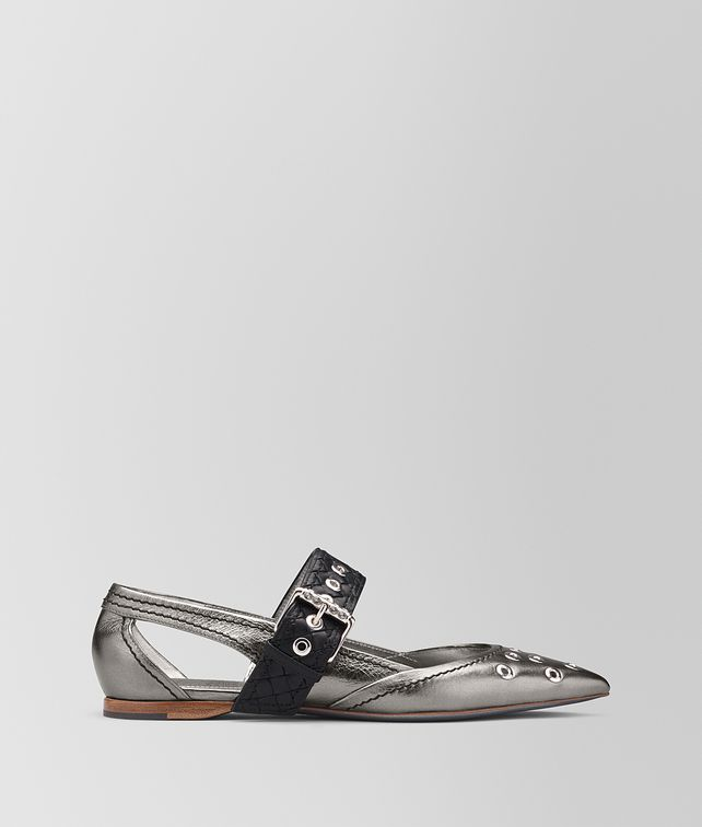 BOTTEGA VENETA ANTIQUE SILVER CALF MARY JANE BALLERINA Flat [*** pickupInStoreShipping_info ***] fp