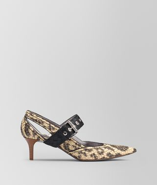 NATURAL ANACONDA KITTEN HEEL