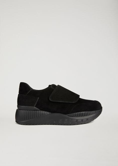 Sneakers en cuir suédé à semelle épaisse