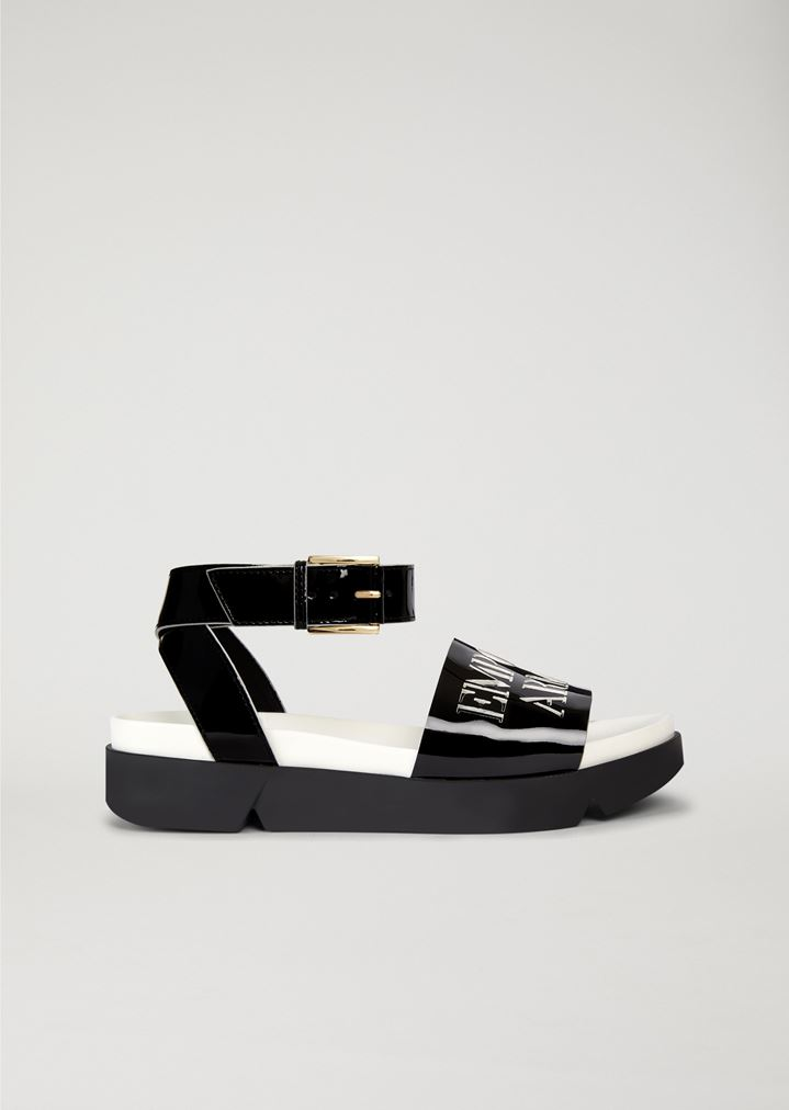 Patent leather sandal with logo  dff5510fe46