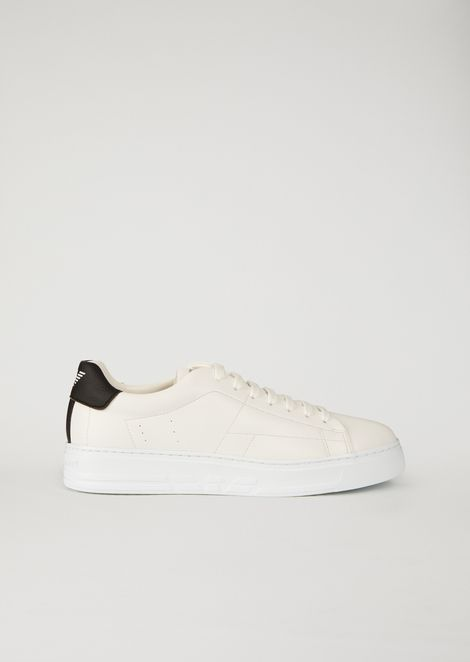 Faux Leather Sneakers with Branded Insert