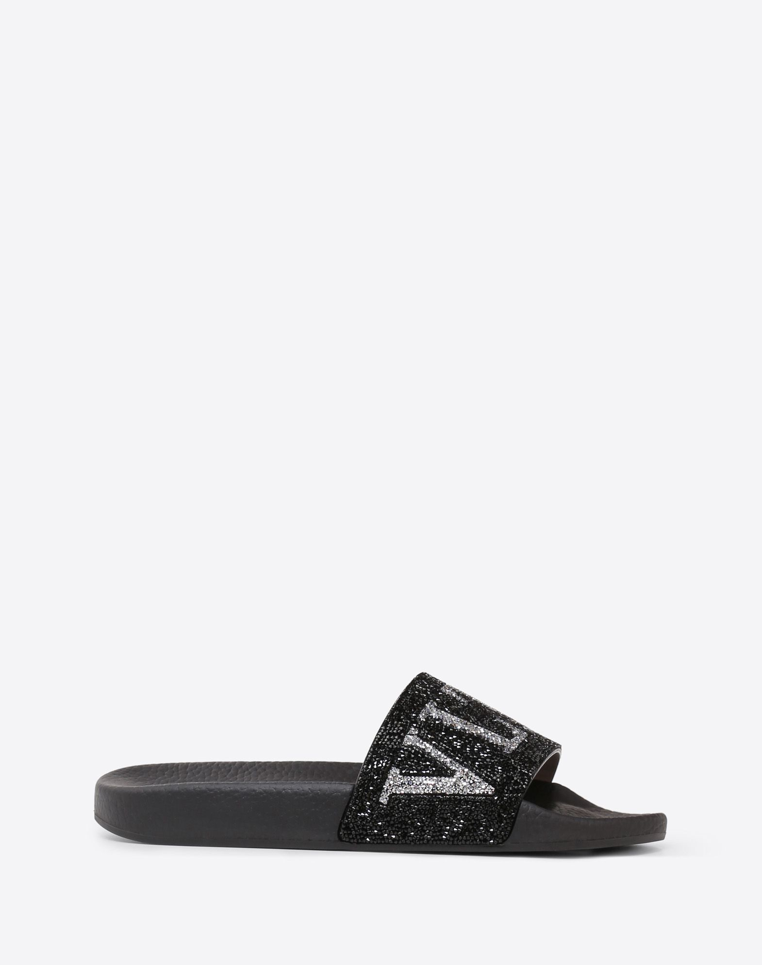 Crystal Pool Slides in Black Rubber and Crystals Valentino obV7VfRH