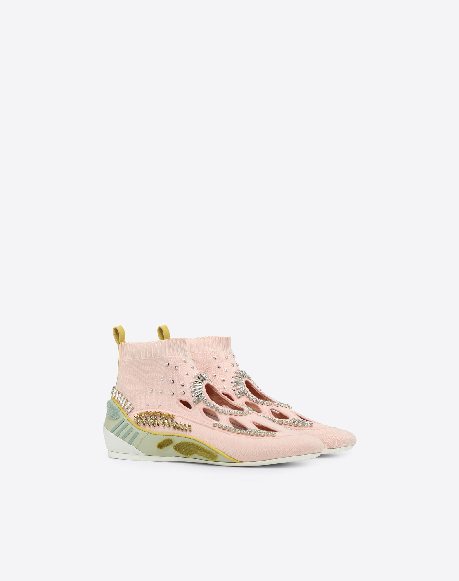 VALENTINO GARAVANI Embroidered high-top Sneaker with cut-out detail HIGH-TOP SNEAKER D r