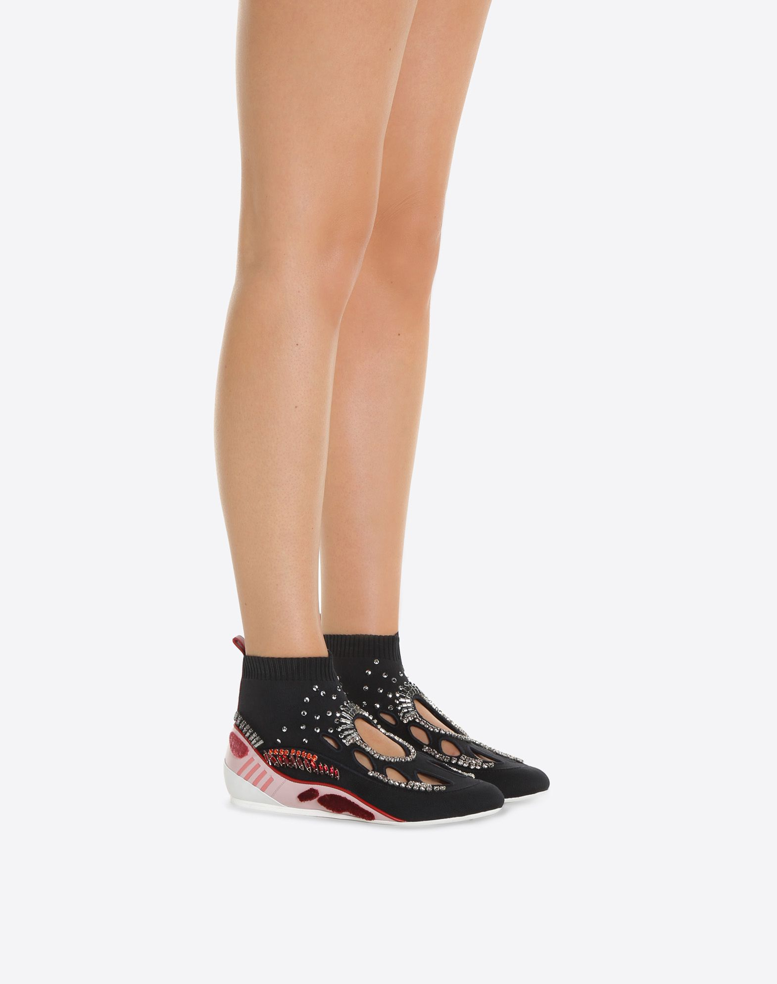 VALENTINO GARAVANI Embroidered high-top Sneaker with cut-out detail HIGH-TOP SNEAKER D a