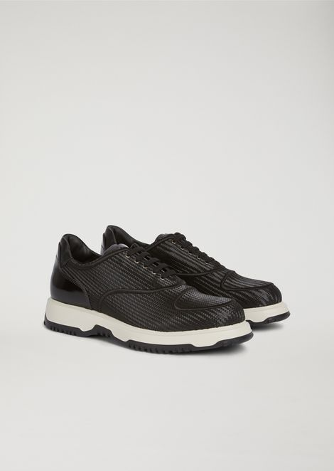 Brushed and faux leather lace-up Derby