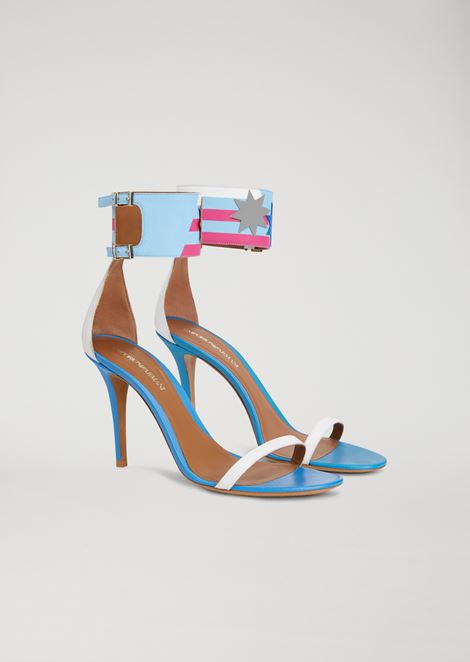 Sandals with heel and ankle strap