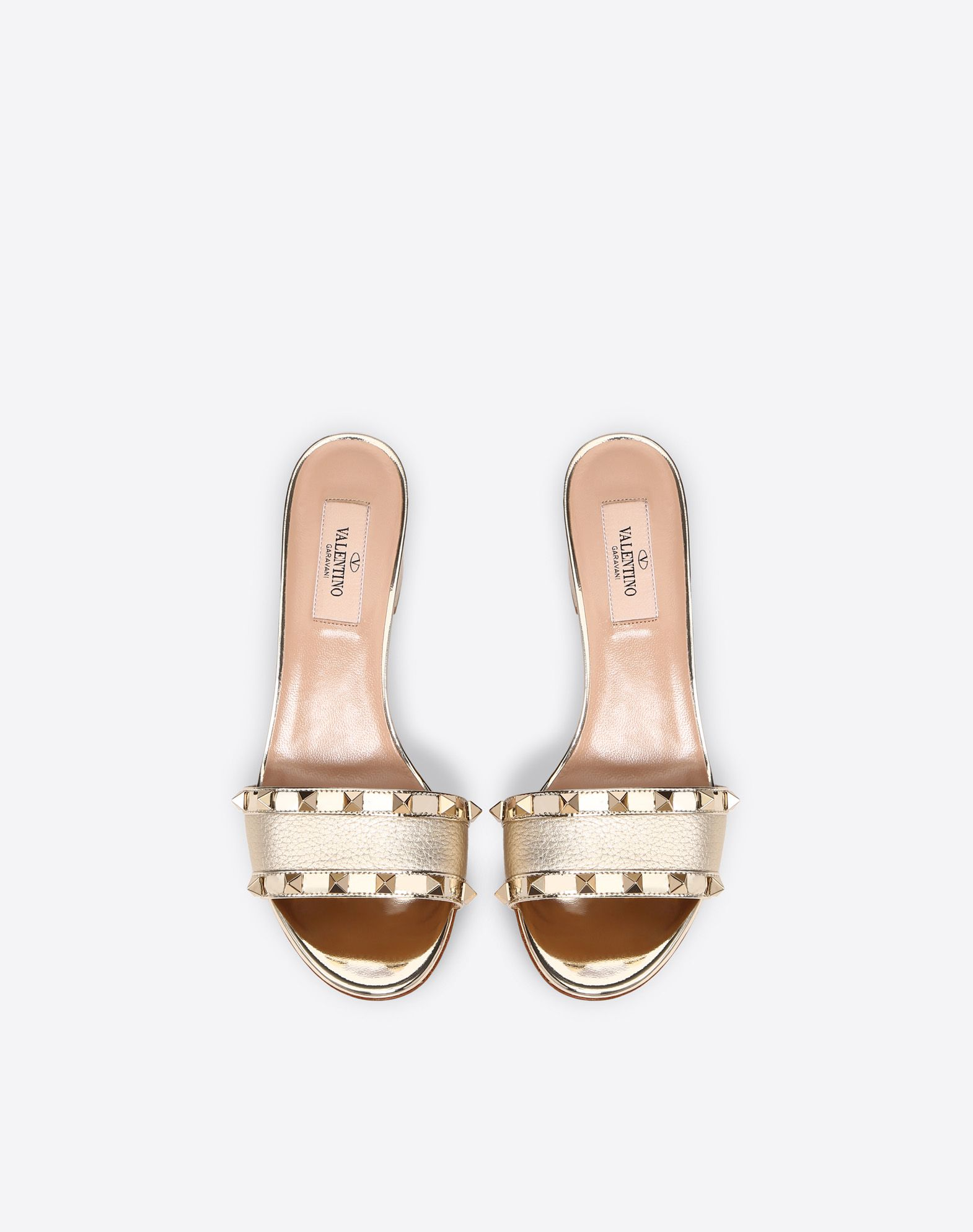 VALENTINO Textured leather Solid colour Studs Leather sole Round toeline Square heel Covered heel  11458299vu