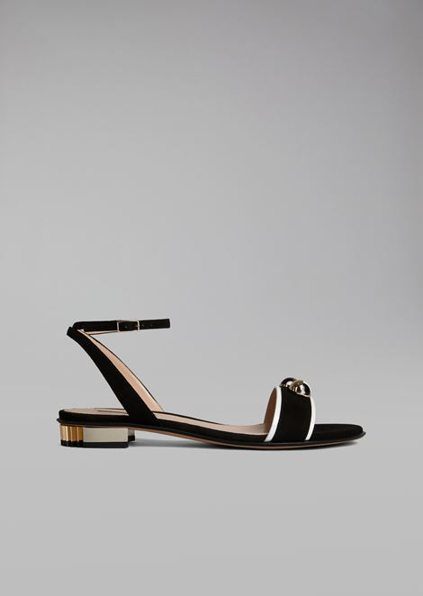 Suede sandal with decorative marble details