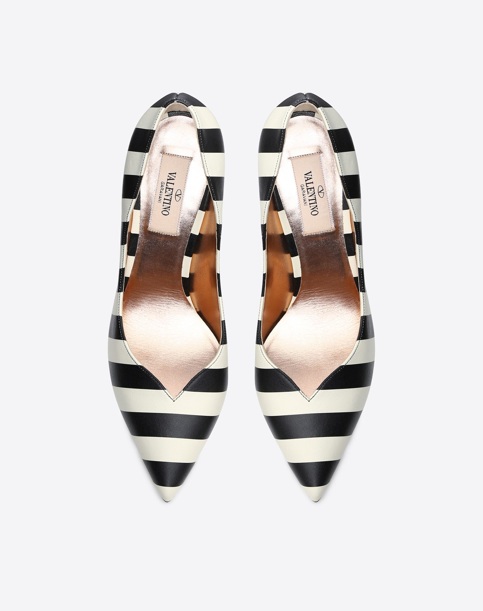VALENTINO Logo Narrow toeline Stripes Leather sole Leather lining Spike heel  11470538ba