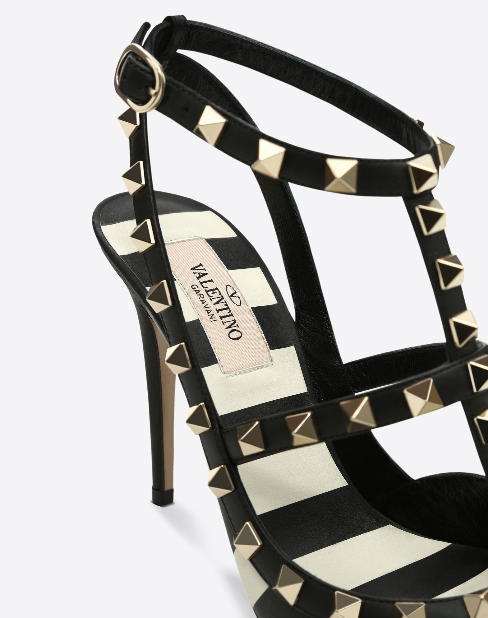 VALENTINO Stiletto heel Studs Buckling ankle strap closure Narrow toeline Leather lining Leather sole  11470552mh