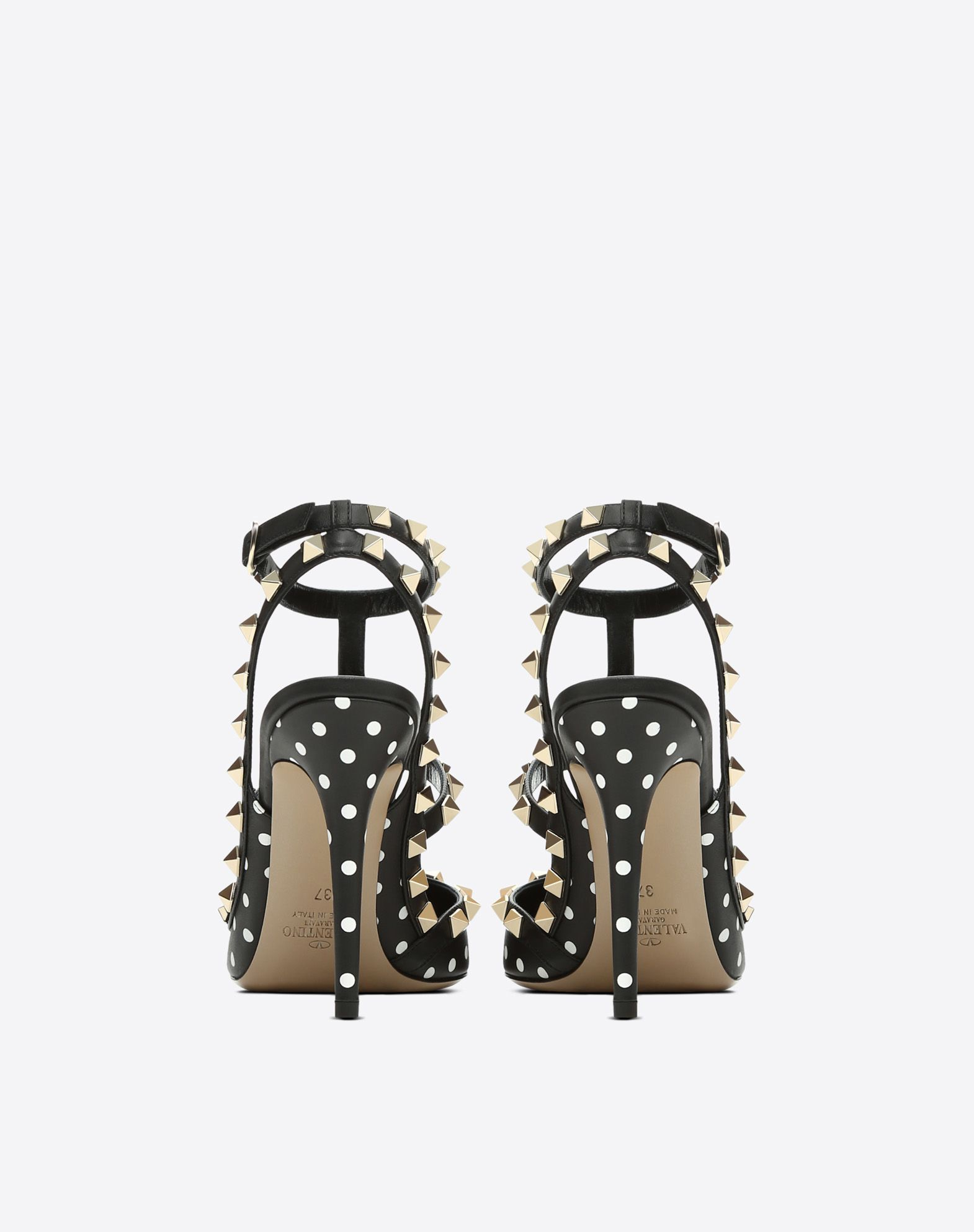 VALENTINO Studs Stiletto heel Polka dots Buckling ankle strap closure Narrow toeline Leather lining Leather sole  11470553qb