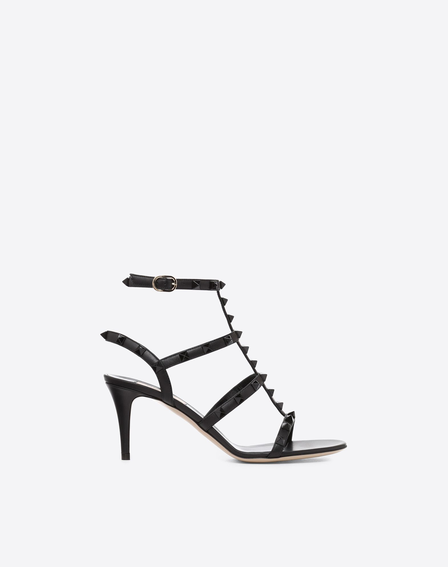 VALENTINO Studs Round toeline Spike heel Buckling ankle strap closure Basic solid colour Leather lining Leather sole  11470565ir