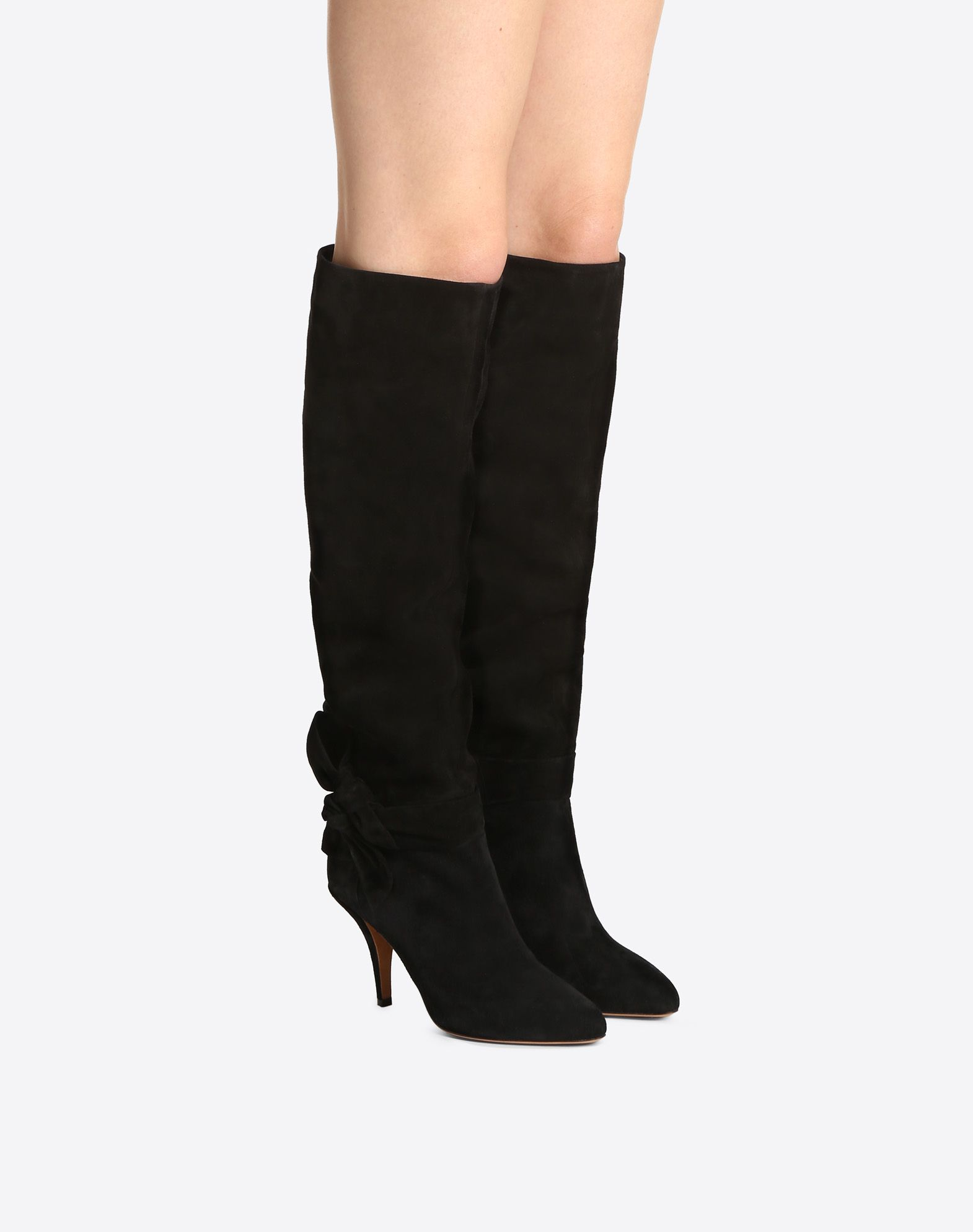 VALENTINO GARAVANI Knee-High Bow Boot in Suede Boot D a