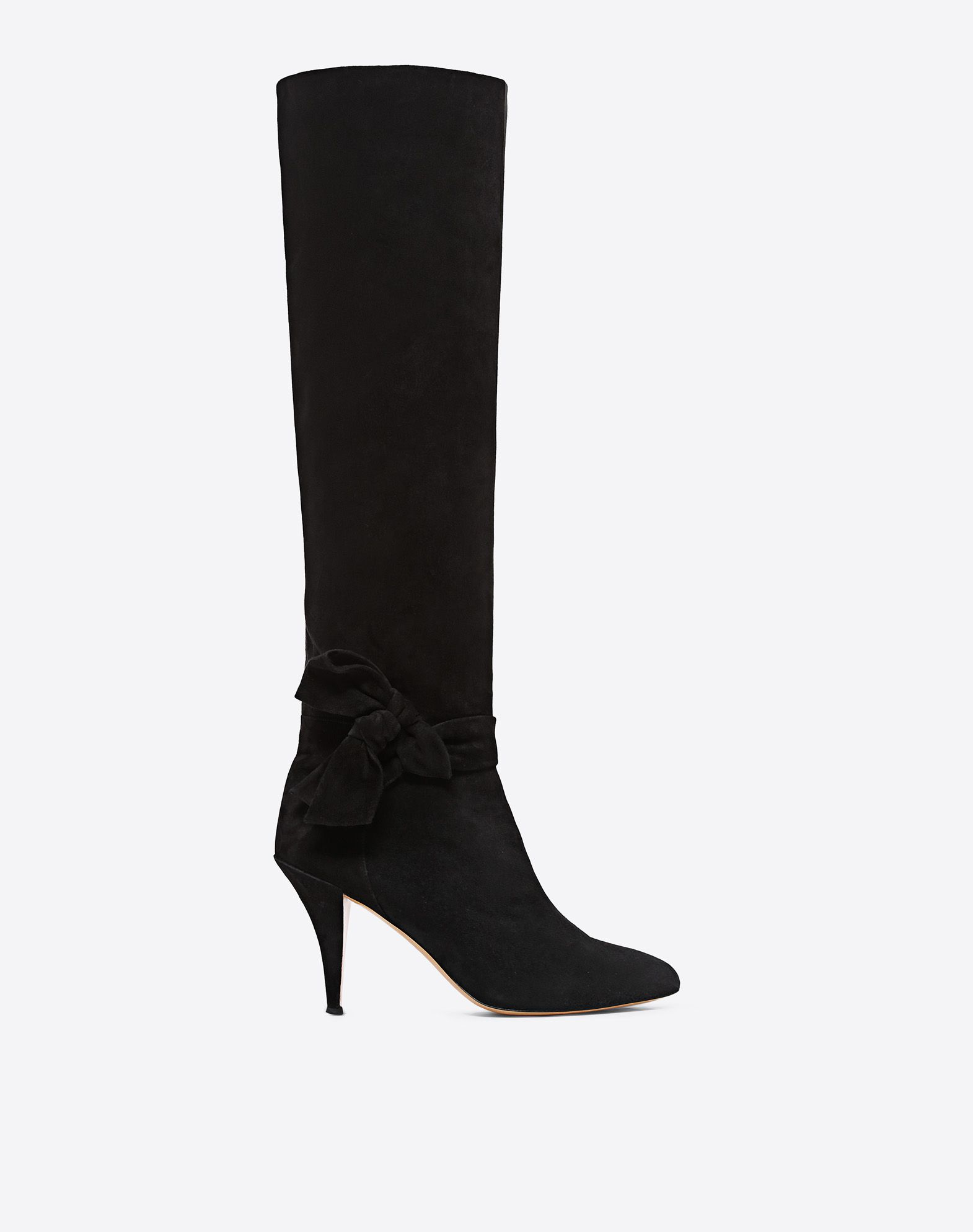 VALENTINO GARAVANI Knee-High Bow Boot in Suede Boot D f