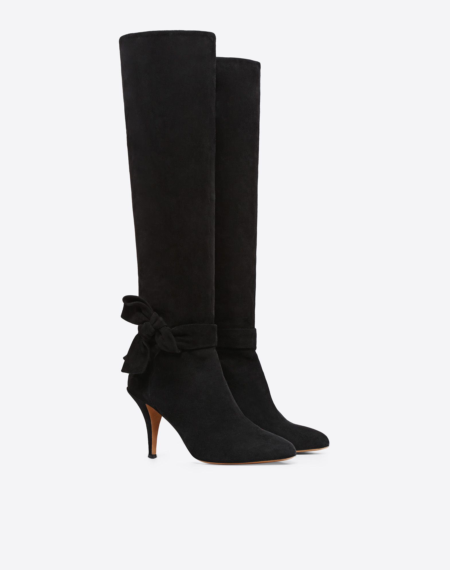 VALENTINO GARAVANI Knee-High Bow Boot in Suede Boot D r