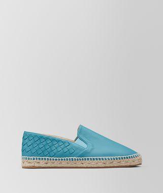 水蓝色编织小羊皮麻底鞋