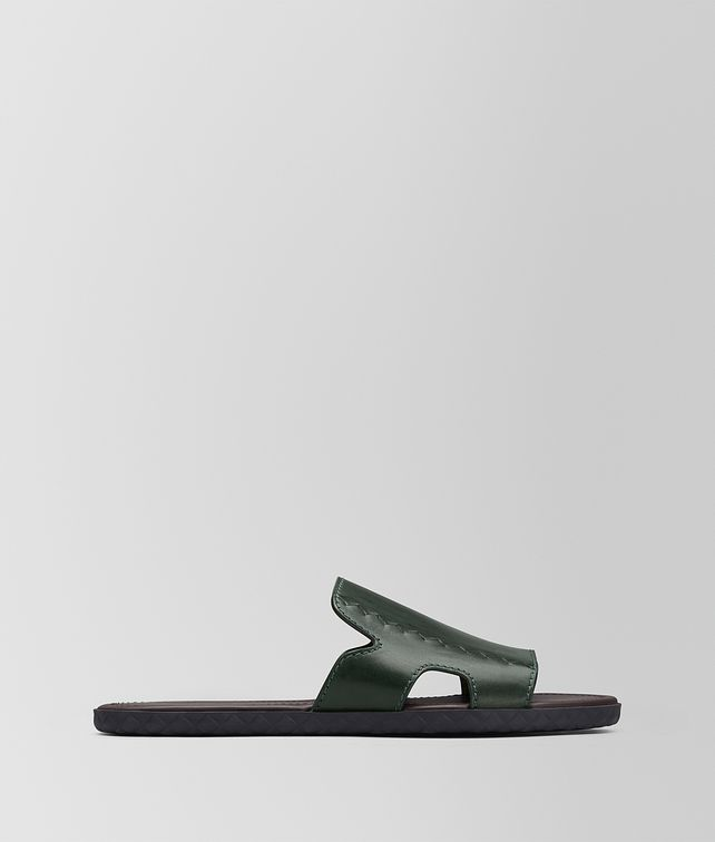 BOTTEGA VENETA DARK MOSS CALF PLAGE SANDAL Sandals Man fp