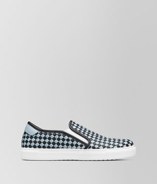 SLIP-ON BV CHECKER IN VITELLO NERO/ARCTIC