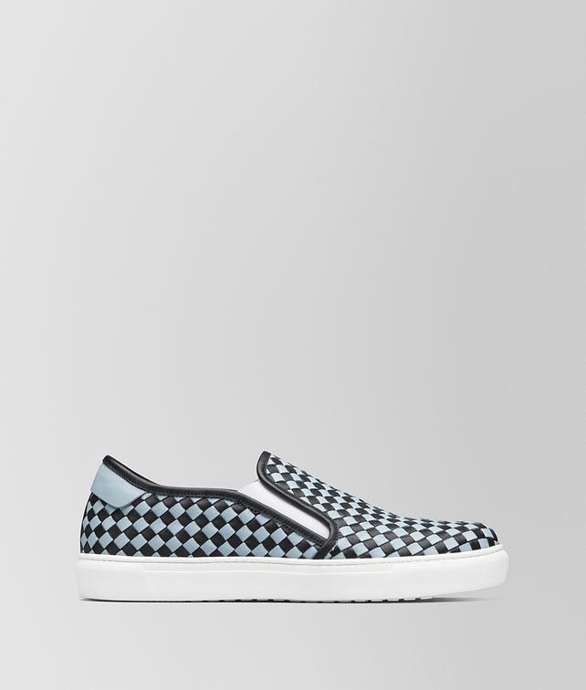 BOTTEGA VENETA NERO/ARCTIC CALF BV CHECKER SLIP-ON Trainers [*** pickupInStoreShippingNotGuaranteed_info ***] fp
