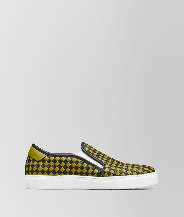 BOTTEGA VENETA NERO/CHAMOMILE CALF BV CHECKER SLIP-ON Trainers Man fp